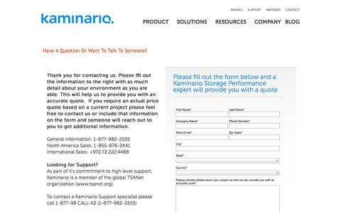 Screenshot of Pricing Page kaminario.com - Have a Kaminario Rep contact me Request - captured Sept. 16, 2014