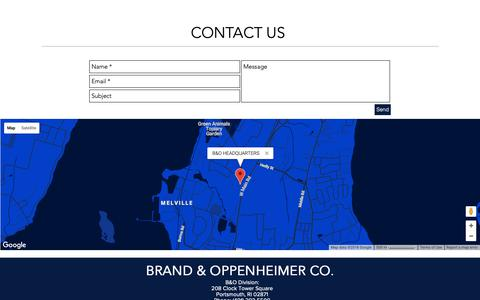 Screenshot of Contact Page brandandoppenheimer.com - Home | United States | Brand and Oppenheimer | CONTACT - captured Oct. 6, 2018
