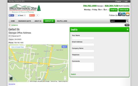 Screenshot of Contact Page appalachian-financial.com - Appalachian Financial Group Inc. > Contact Us - captured Oct. 4, 2014