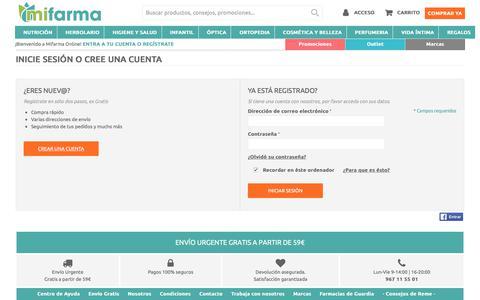 Screenshot of Login Page mifarma.es - Acceso del cliente | Mifarma.es - captured Sept. 20, 2018