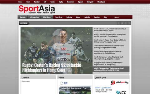 Screenshot of Home Page sport-asia.com - Sport Asia - Sport in Asia   Asia in Sport - captured June 13, 2016