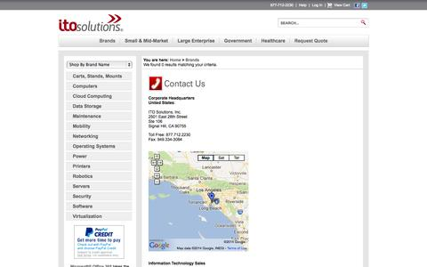 Screenshot of Contact Page itosolutions.net - Featured Brands - captured Oct. 27, 2014