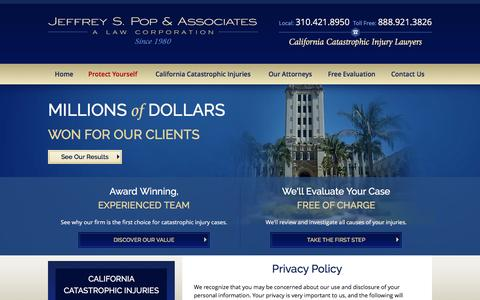 Screenshot of Privacy Page poplawyer.com - Privacy Policy | Jeffrey S. Pop & Associates - captured Nov. 19, 2016
