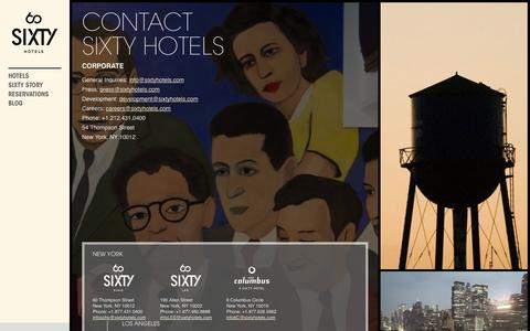 Screenshot of Contact Page sixtyhotels.com - Luxury Hotel Company | Contact | SIXTY Hotels - captured Sept. 19, 2014