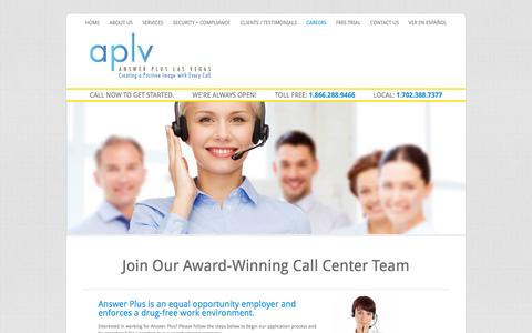 Screenshot of Jobs Page aplv.com - Careers | Answer Plus Las Vegas - captured Nov. 2, 2014