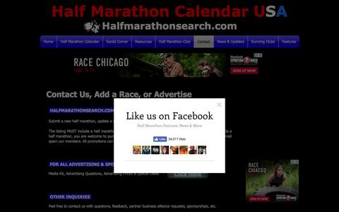 Screenshot of Contact Page halfmarathonsearch.com - Half Marathon Calendar Contact - captured Oct. 19, 2016