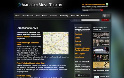 Screenshot of Maps & Directions Page amtshows.com - Directions «  Concerts in PA, Lancaster Theatre | American Music Theatre - captured Sept. 23, 2014