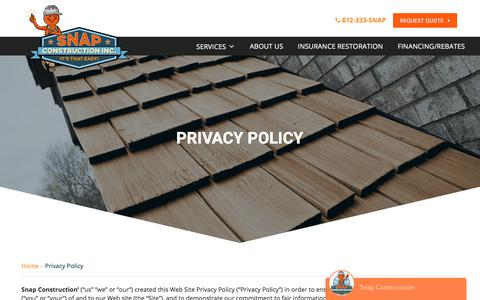 Screenshot of Privacy Page snapconstruction.com - Privacy Policy - Snap Construction - captured July 1, 2017
