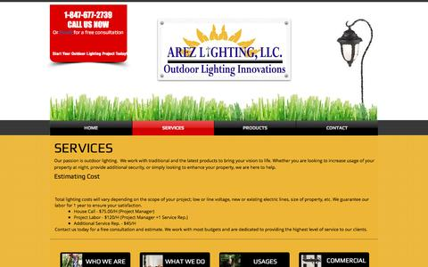 Screenshot of Services Page arezlightingllc.com - Arez Lighting | Services - captured May 30, 2017