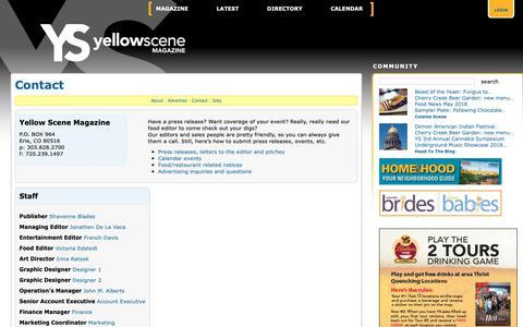 Screenshot of Contact Page yellowscene.com - Contact – North Metro Diversions – North Metro Diversions – Yellow Scene Magazine - captured Oct. 20, 2018