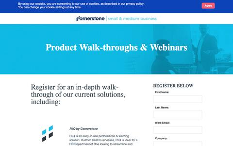 Screenshot of Landing Page cornerstoneondemand.com - CSOD | SMB Product Walk-throughs - captured Oct. 22, 2019