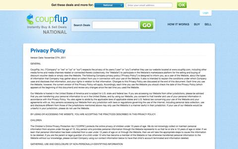 Screenshot of Privacy Page coupflip.com - CoupFlip - Privacy Policy - captured Sept. 13, 2014