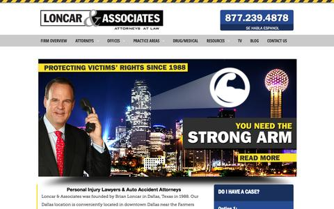 Screenshot of Home Page Menu Page brianloncar.com - Personal Injury Lawyers Dallas   Accident Attorneys in Dallas TX - captured Oct. 3, 2014