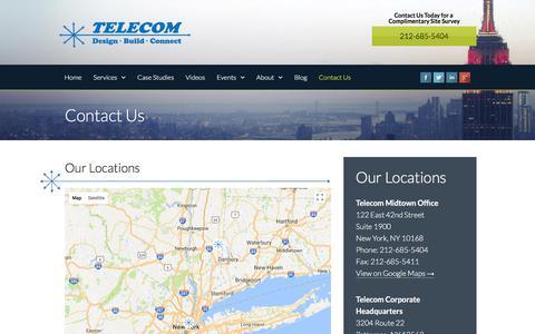 Screenshot of Contact Page telecom-wiring.com - Contact Us   Telecom Infrastructure Corp - captured Feb. 8, 2018