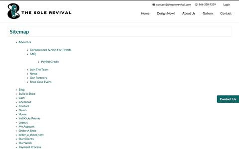 Screenshot of Site Map Page thesolerevival.com - Sitemap - The Sole Revival - captured Dec. 22, 2016