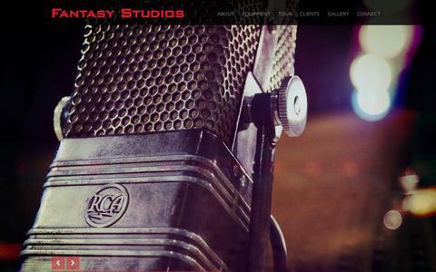 Screenshot of Home Page fantasystudios.com - Fantasy Studios | San Francisco Bay Area's Premier Recording Facility - captured Jan. 8, 2016