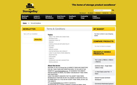 Screenshot of Terms Page thestoragebay.co.uk - Terms & Conditions - The Storage Bay - captured Oct. 9, 2014