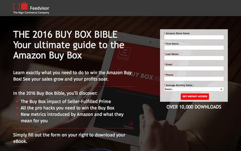Screenshot of Landing Page feedvisor.com - The Amazon Buy Box Bible - captured March 22, 2016