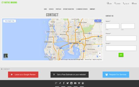Screenshot of Contact Page nativeimaging.com - Contact | Native Imaging - captured April 12, 2016