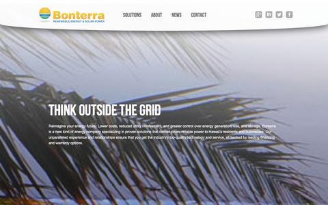Screenshot of Home Page bonterrasolar.com - Bonterra Solar Hawaii | Renewable Energy & Solar Power - captured Dec. 11, 2015
