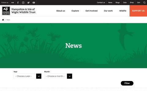 Screenshot of Press Page hiwwt.org.uk - News | Hampshire and Isle of Wight Wildlife Trust - captured Sept. 27, 2018