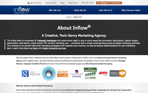 Screenshot of About Page goinflow.com - About Inflow – Inbound Marketing Experts - Denver, CO Formerly seOverflow - captured Oct. 2, 2015