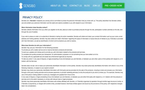 Screenshot of Privacy Page sensibo.com - Privacy policy - sensibo - captured Oct. 30, 2014