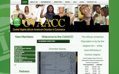 Screenshot of Home Page cvaacc.org - Central Virginia African American Chamber of Commerce - captured Jan. 29, 2015
