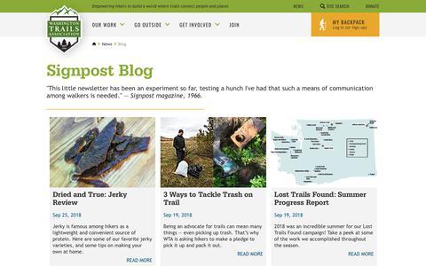 Screenshot of Blog wta.org - Signpost Blog — Washington Trails Association - captured Sept. 29, 2018