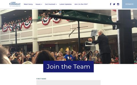 Screenshot of Signup Page gerryconnolly.com - Sign-up and Join the Team - Gerry Connolly for Congress - captured Oct. 26, 2018