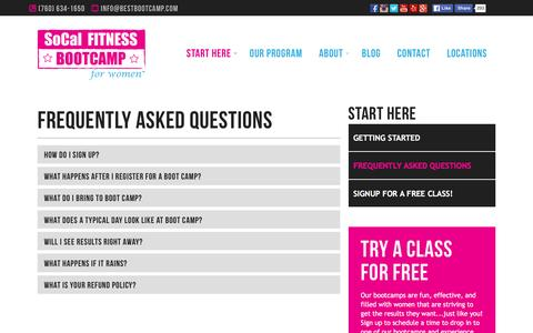 Screenshot of FAQ Page bestbootcamp.com - Frequently Asked Questions - SoCal Fitness Bootcamp for Women - captured Jan. 17, 2016