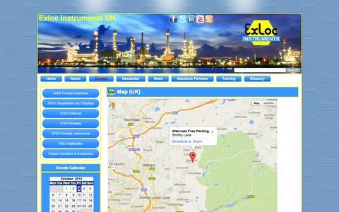 Screenshot of Maps & Directions Page exloc.co.uk - Map (UK) | Exloc Instruments UK - captured Oct. 3, 2014