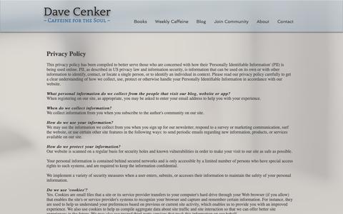 Screenshot of Privacy Page davecenker.com - Contact | Dave Cenker | Author - captured Nov. 8, 2018