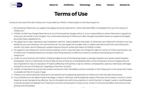 Screenshot of Terms Page inhibox.com - Terms of Use - captured May 9, 2017