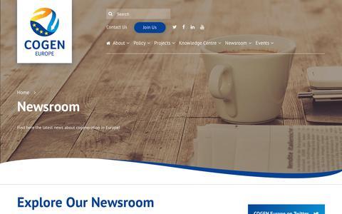 Screenshot of Press Page cogeneurope.eu - Cogen - Newsroom - captured July 13, 2018