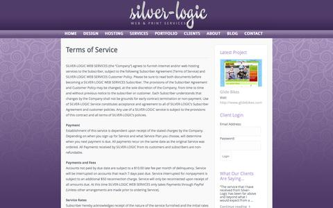 Screenshot of Terms Page silver-logic.com - Terms of Service | Silver-Logic Web & Print Services - captured Oct. 21, 2017