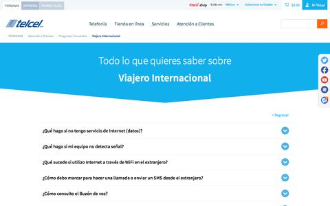 Screenshot of telcel.com - Viajero internacional - Preguntas frecuentes | Telcel - captured Oct. 2, 2017