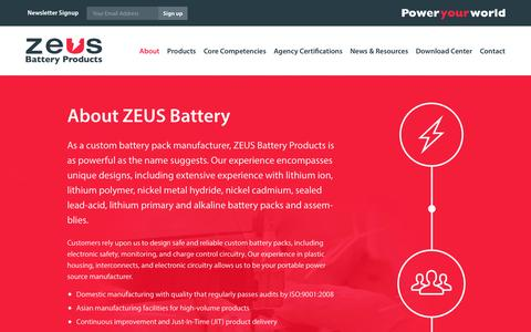 Screenshot of About Page zeusbatteryproducts.com - ZEUS Battery Products | About Us - captured Feb. 26, 2016