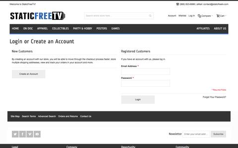 Screenshot of Login Page staticfreetv.com - Customer Login - captured Jan. 12, 2016