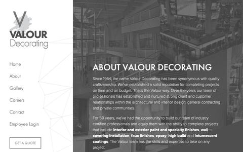 Screenshot of About Page valourdecorating.com - About Valour Decorating « - captured Dec. 10, 2018
