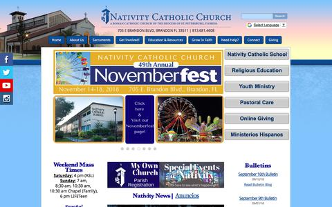 Screenshot of Home Page nativitycatholicchurch.org - Nativity Catholic Church: Welcome! - captured Sept. 20, 2018