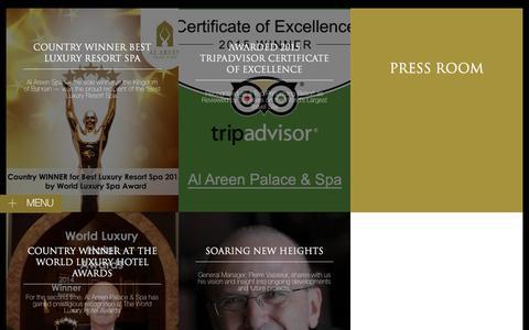 Screenshot of Press Page alareenpalace.com - Press Room | AL AREEN PALACE - captured Feb. 5, 2016