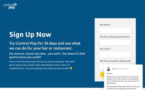 Screenshot of Signup Page controlplay.com - Adam says… - captured Nov. 5, 2018