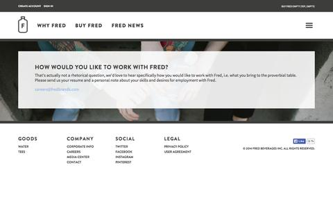 Screenshot of Jobs Page fredwater.com - Careers - captured Oct. 6, 2014