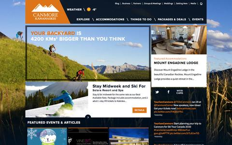 Screenshot of Home Page tourismcanmore.com - Official Visitor Information for Canmore Kananaskis | Canmore Tourism Information | Tourism Canmore Kananaskis - captured Jan. 25, 2016