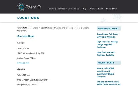 Screenshot of Locations Page talent-101.com - Locations - captured Nov. 28, 2016