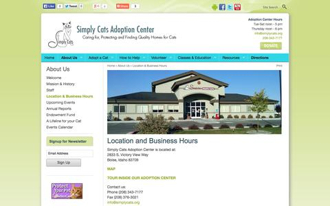Screenshot of Contact Page Maps & Directions Page simplycats.org - Location and Business Hours | Location & Business Hours | About Us | Simply Cats Adoption Center - captured Oct. 26, 2014