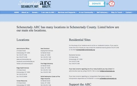 Screenshot of Contact Page Locations Page arcschenectady.org - Board and Management - captured Oct. 23, 2014