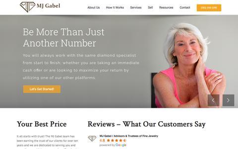 Screenshot of Home Page mjgabel.com - Sell Your Diamond & Diamond Jewelry - Jewelry Appraisals - MJ Gabel - captured Sept. 25, 2018