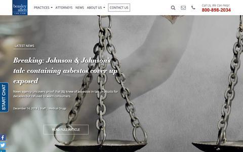 Screenshot of Press Page beasleyallen.com - News | Beasley Allen Law Firm - captured Dec. 18, 2018